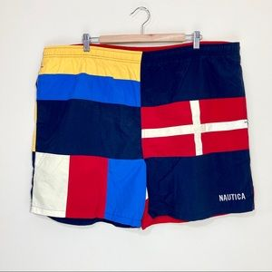 Nautica color block nautical flags swim trunks XXL